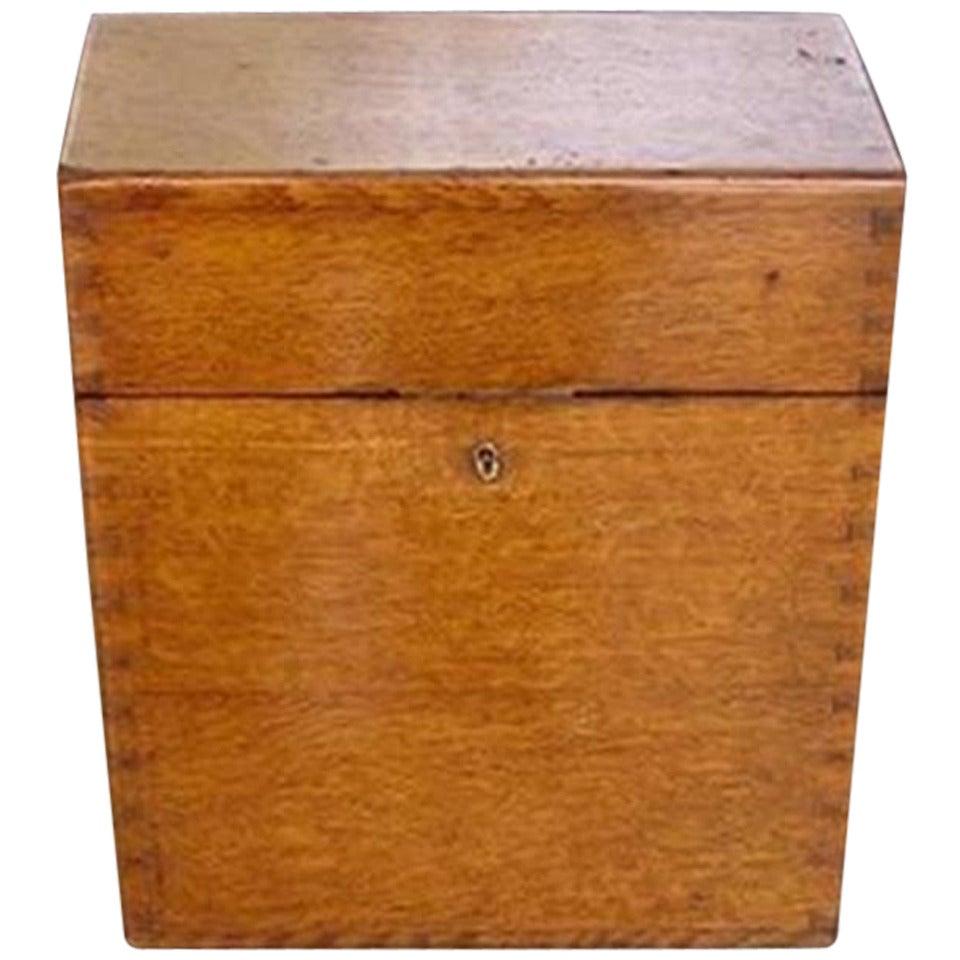 English Oak Campaign Bottle Box. Circa 1830