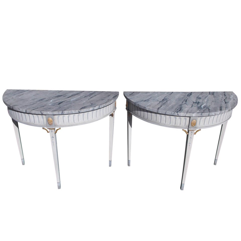 Pair of Italian Painted and Gilt Consoles, 19th Century