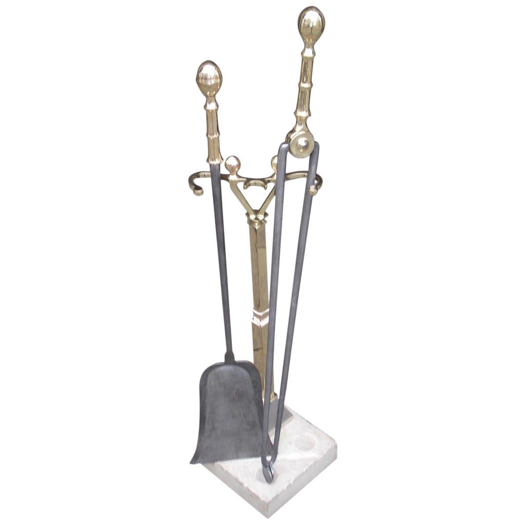 American Brass and Polished Steel Lemon Top Tools on Stand, Circa 1820