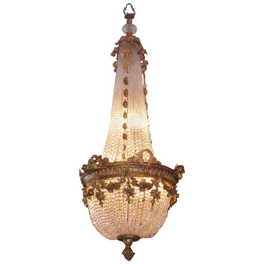 French Gilt Bronze and Crystal Floral Chandelier, Circa 1830