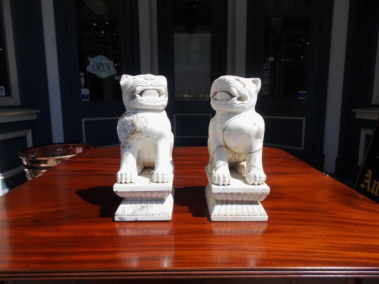 Pair of Chinese Stone Foo Dogs. Circa 1850 In Good Condition For Sale In Charleston, SC