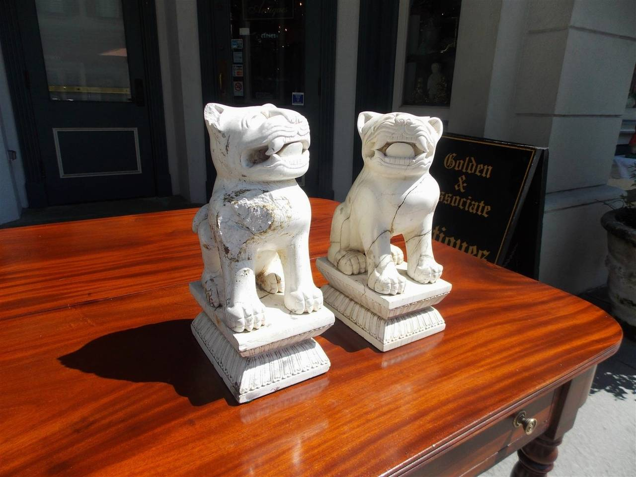Chinese Export Pair of Chinese Stone Foo Dogs. Circa 1850 For Sale
