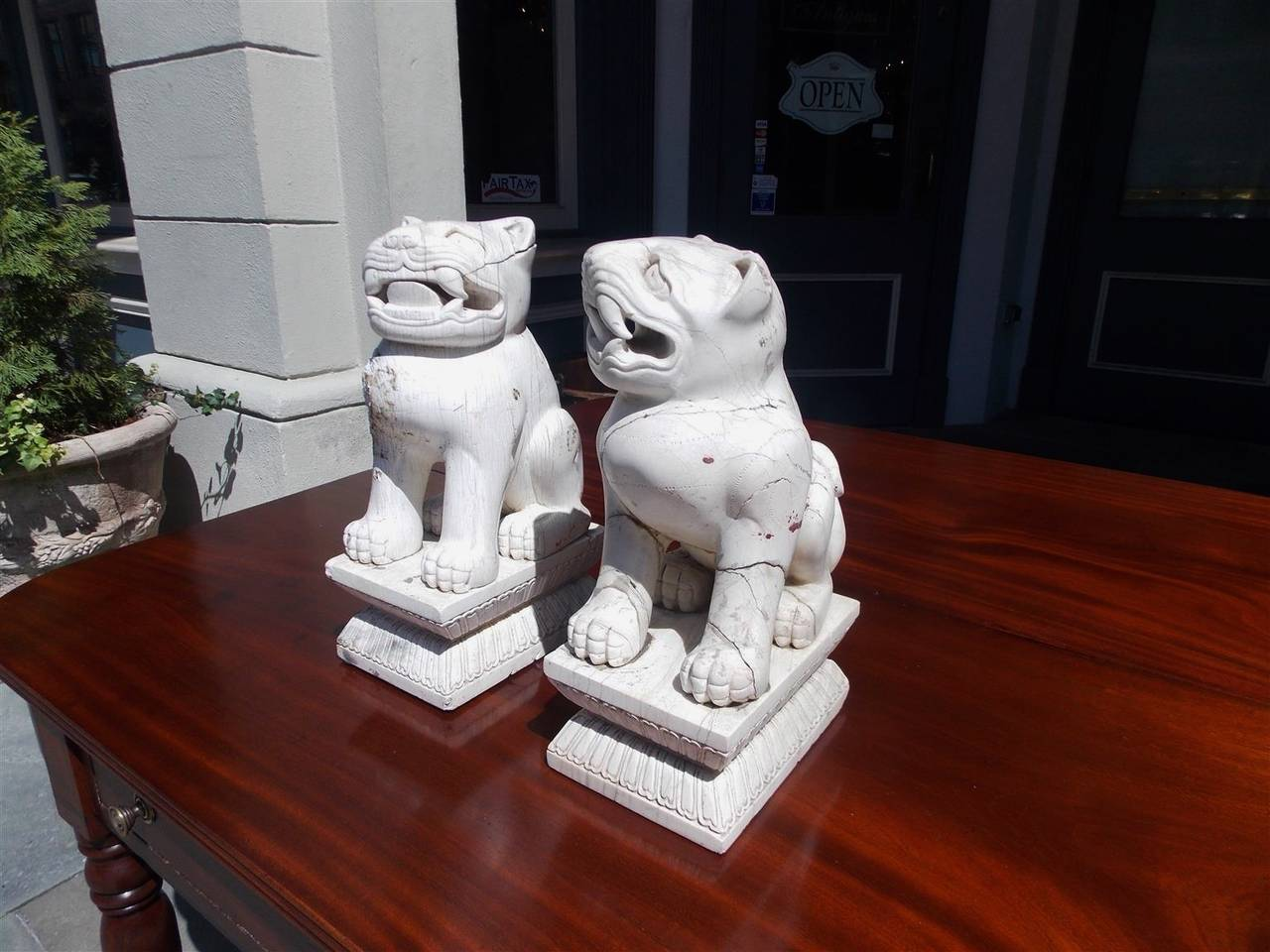 Mid-19th Century Pair of Chinese Stone Foo Dogs. Circa 1850 For Sale