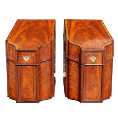 Pair of English Mahogany Slant Top Cutlery Boxes. Circa 1790