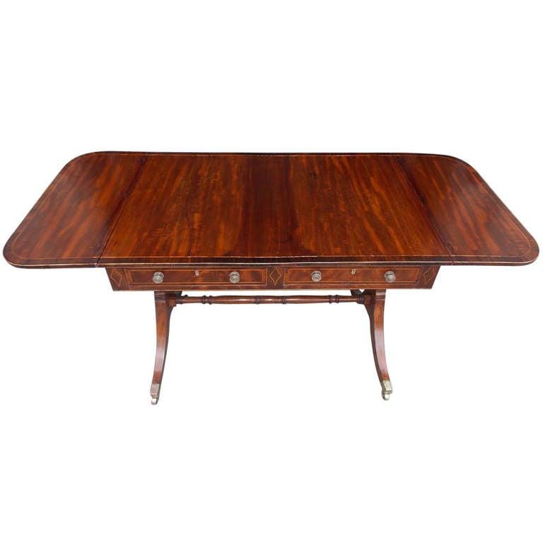 English Mahogany & Cross Banded Rosewood Drop Leaf  Library Table. Circa 1800