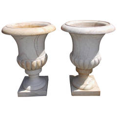 Pair of French Marble Campaign Urns. Circa 1840