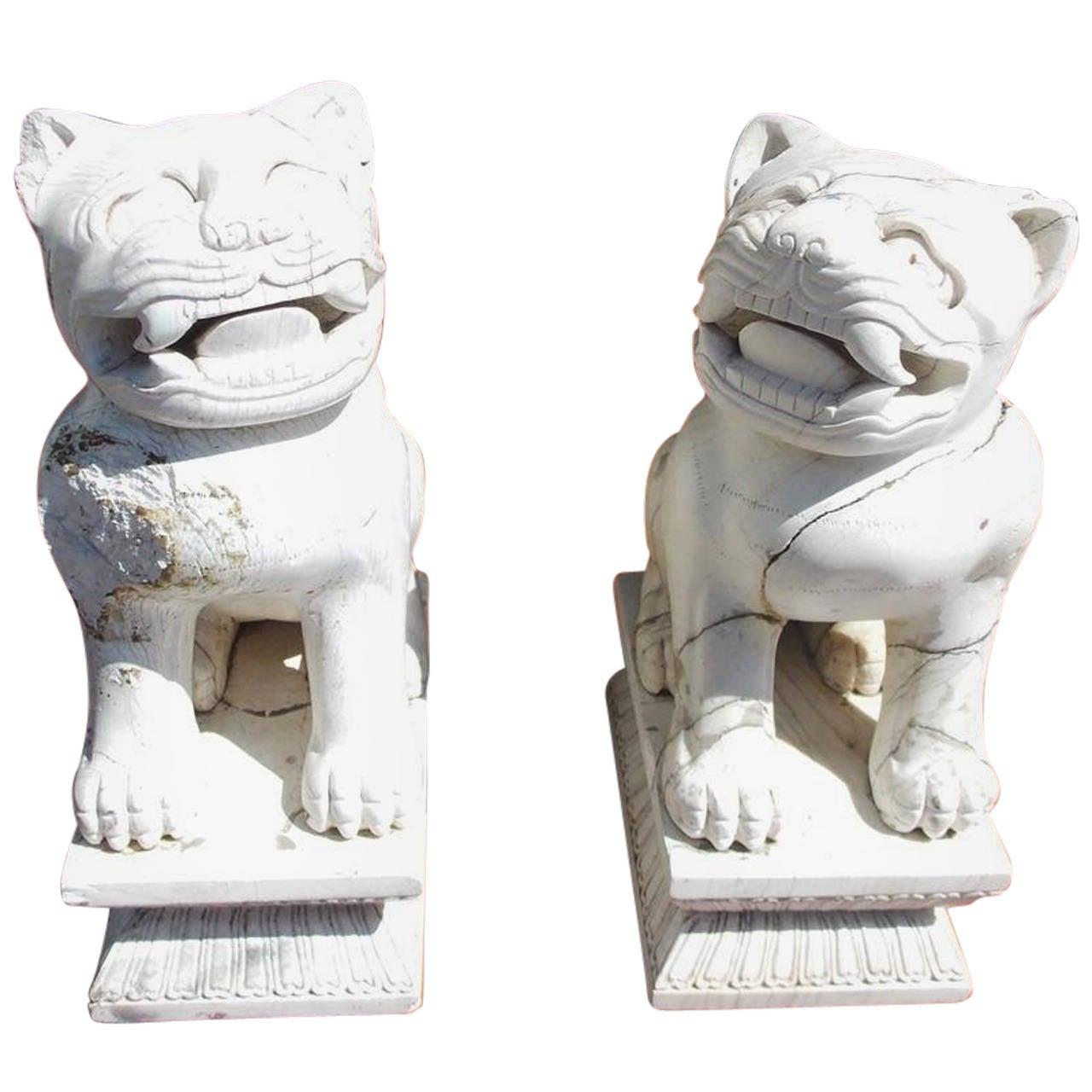 Pair of Chinese Stone Foo Dogs. Circa 1850
