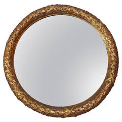 French Gilt Carved Wood Floral Mirror, Circa 1820