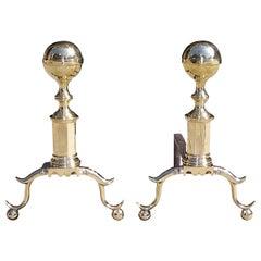 Pair of American Brass Ball Top Andirons. Boston, Circa 1800