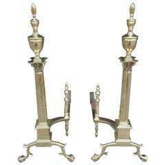 Pair of American Brass Finial Andirons. Philadelphia, Circa 1870