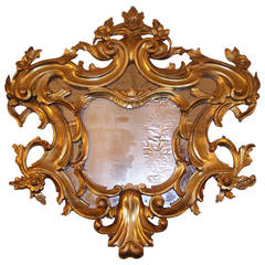 English Carved Wood Gilt Floral Wall Mirror, Circa 1780