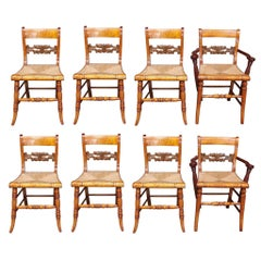 Set of Eight American Tiger Maple and Walnut Fancy Chairs.  Circa 1810
