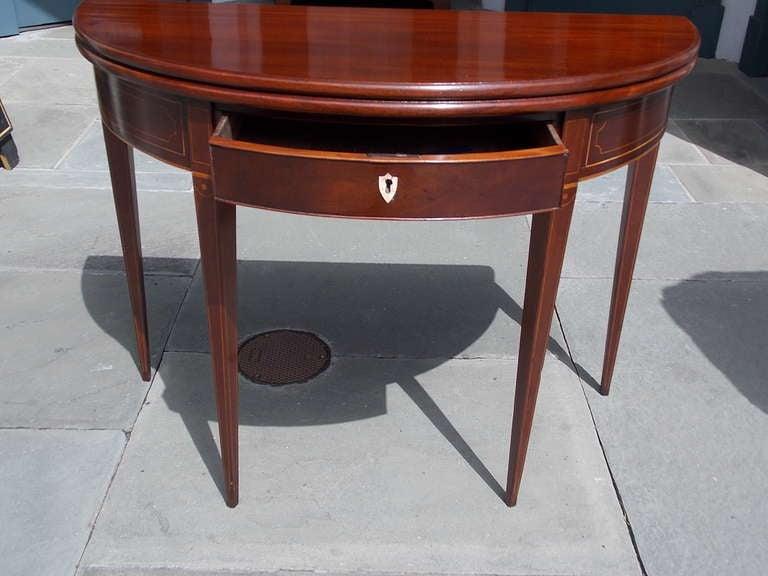 English Mahogany Demi-lune Game Table. Circa 1780-90 For Sale 4