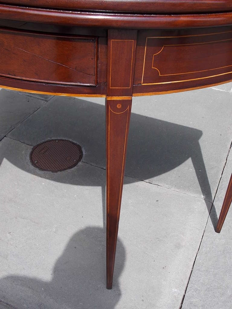 English Mahogany Demi-lune Game Table. Circa 1780-90 For Sale 5