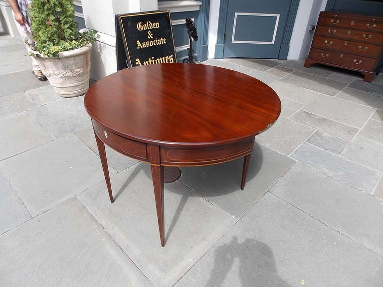 18th Century and Earlier English Mahogany Demi-lune Game Table. Circa 1780-90 For Sale
