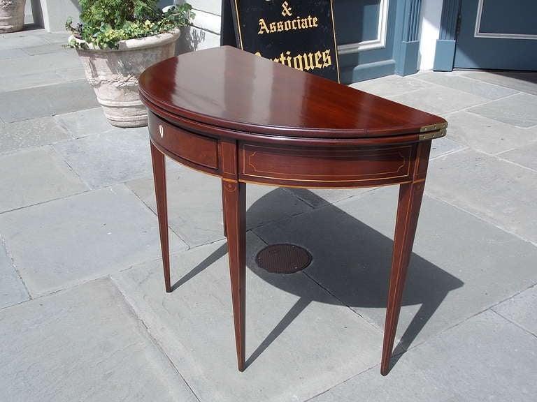 English Mahogany Demi-lune Game Table. Circa 1780-90 For Sale 1