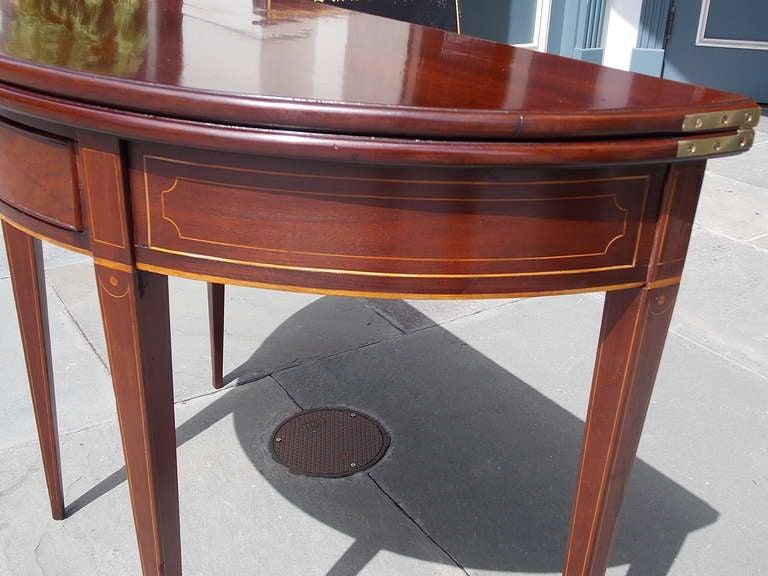 English Mahogany Demi-lune Game Table. Circa 1780-90 For Sale 2