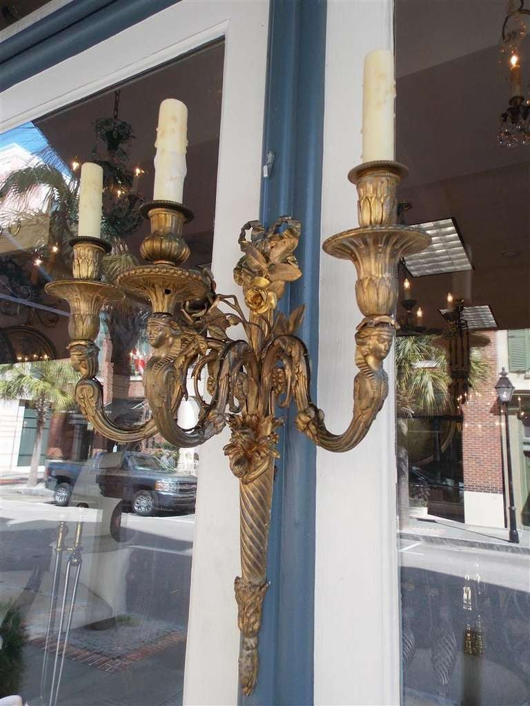 Pair of French Gilt Bronze Three Arm Sconces For Sale 1