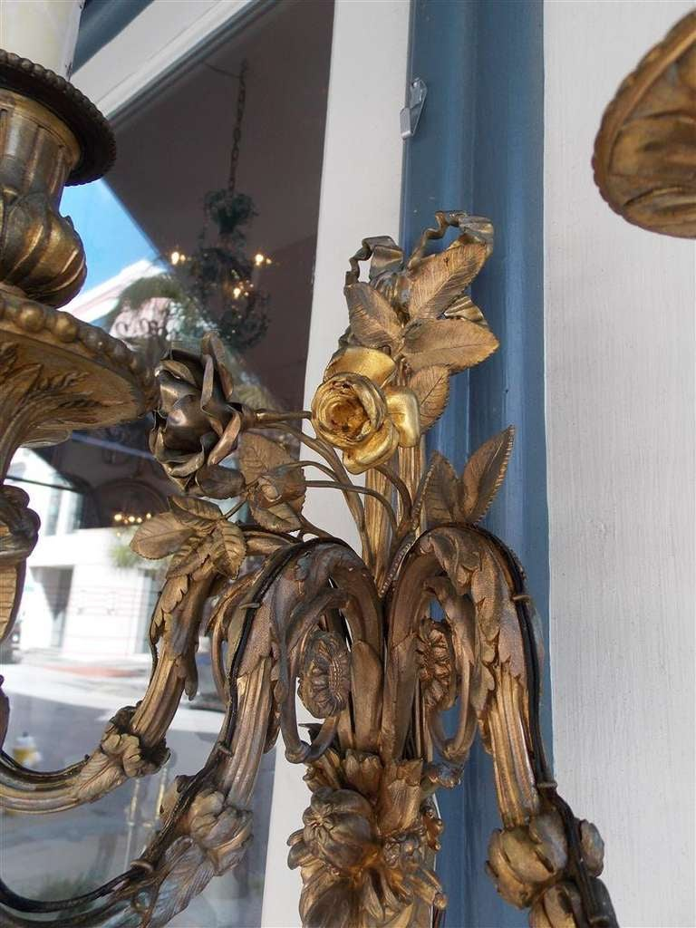 Pair of French Gilt Bronze Three Arm Sconces For Sale 2