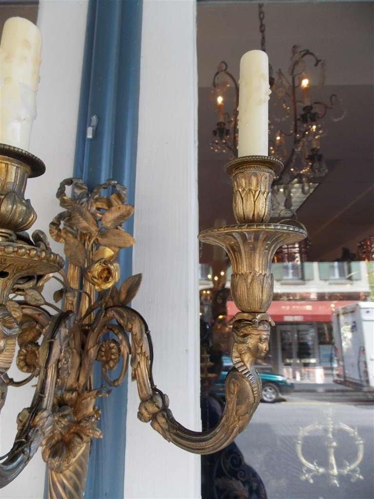 Pair of French Gilt Bronze Three Arm Sconces For Sale 4