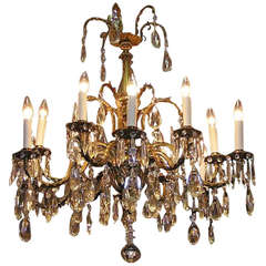 French Brass & Crystal Floral Chandelier.  Circa 1840