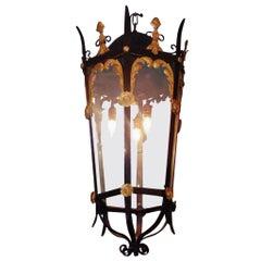 American Wrought Iron and Gilt Monumental Hanging Lantern, Circa 1830