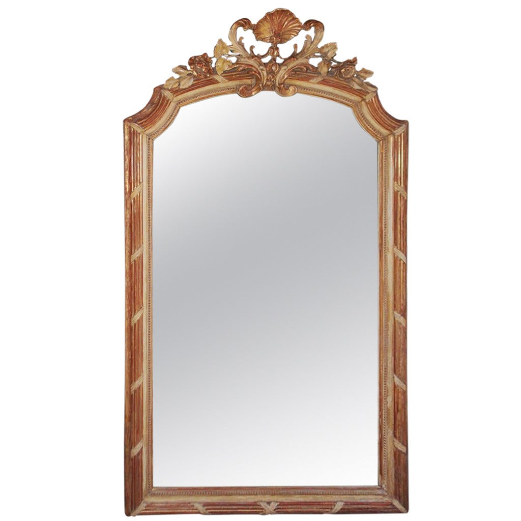 French gilt carved wood and red lacquer wall mirror circa for French mirror