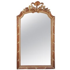 French Gilt Carved Wood and Red Lacquer Wall Mirror, Circa 1820
