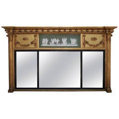 English Gilt Carved Wood and Jasper Ware Over Mantel Mirror, Circa 1810