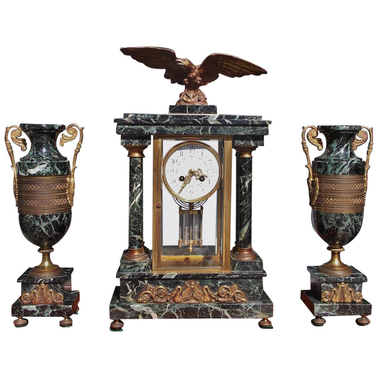 French Marble and Gilt Bronze Three Piece Mantel Clock, Circa 1840