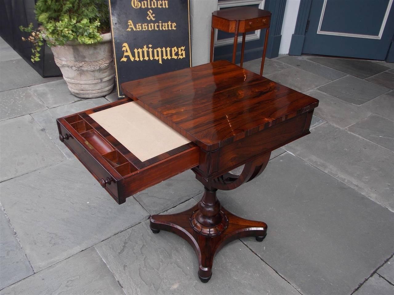 English Classical Zebra Wood Pedestal Table With Interior Desk Circa