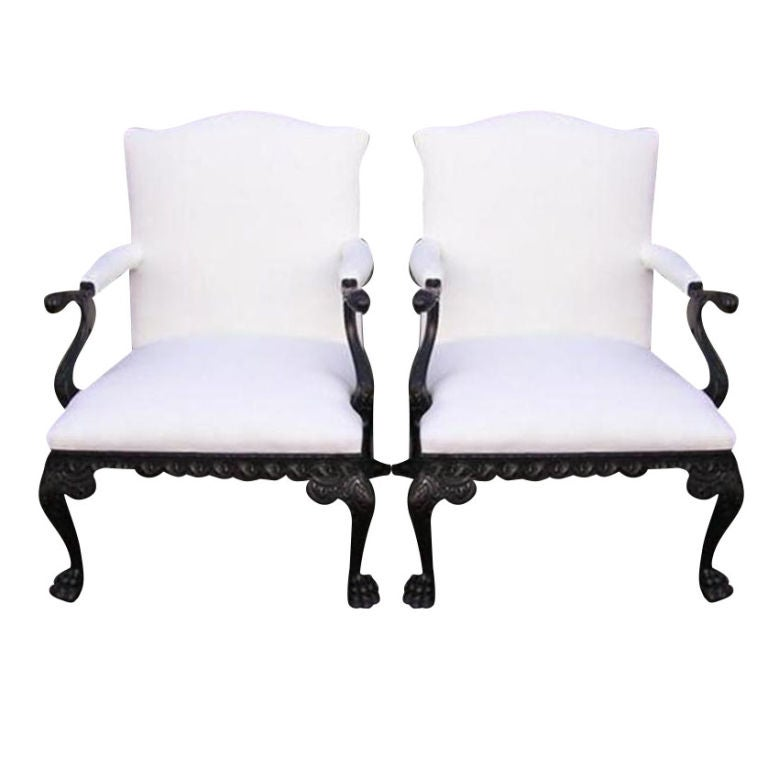 Pair of irish library arm chairs 18th century at 1stdibs - Library lounge chairs ...