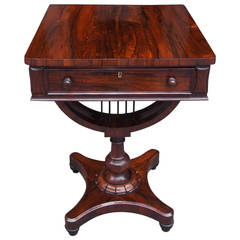 English Classical Zebra Wood Pedestal Table with Interior Desk. Circa 1830