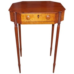 American Sheraton Mahogany and Bird's Eye Maple Sewing Stand, Circa 1810
