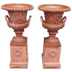 Pair of Italian Terracotta Floral Urns on Raised Plinths, Circa 1840