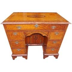 English Satinwood and Patera Inlaid Knee Hole Desk.  Circa 1780