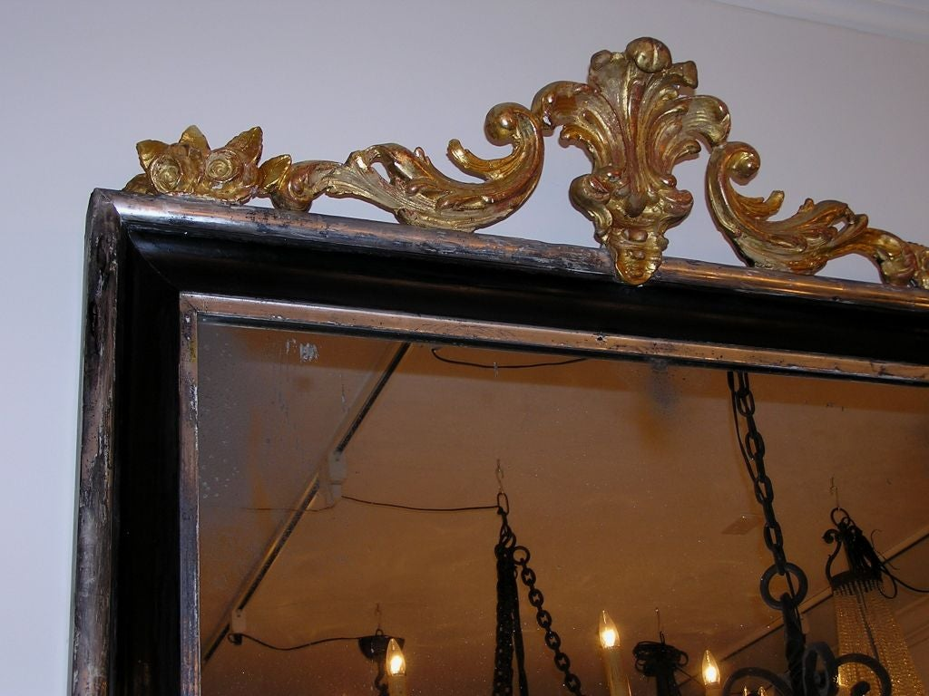 French Regency Carved Wood And Gilt Painted Wall Mirror