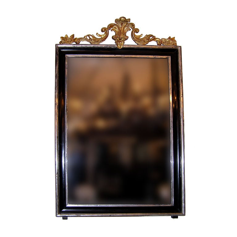 French Regency Carved Wood & Gilt Painted Wall Mirror. Circa 1810