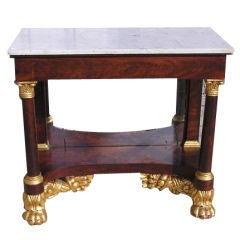 American Mahogany Gilt & Marble Top Cornucopia Pier Table.  Circa 1810
