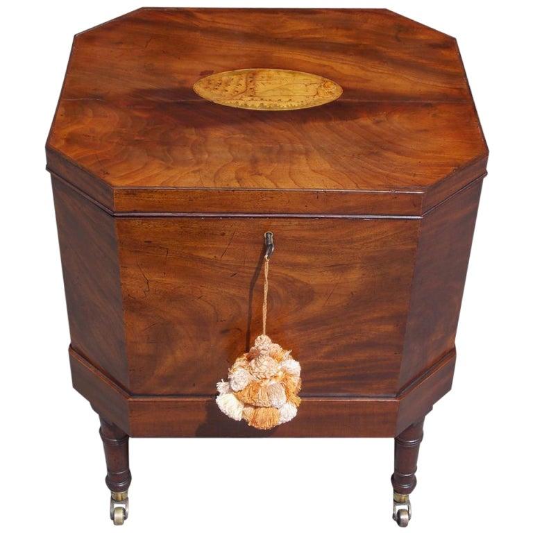 English Mahogany Satinwood Conch Shell Inlaid Wine Cellarette.  Circa 1780
