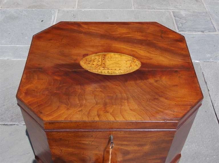 Brass English Mahogany Satinwood Conch Shell Inlaid Wine Cellarette.  Circa 1780 For Sale