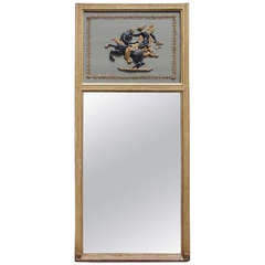 French Painted and Gilt Trumeau Mirror.  Circa 1780
