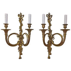 Pair of French Horn Gilt Bronze Two-Arm Sconces, Circa 1830