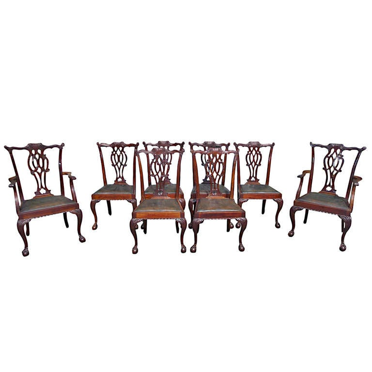 Set of Eight English Mahogany Chippendale Style Dining Chairs, Circa 1830