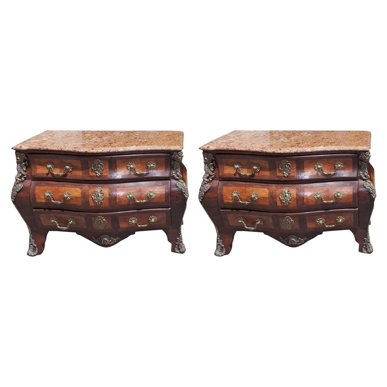 Pair of Italian Marble Top Ormolu Bombay Commodes, Circa 1870