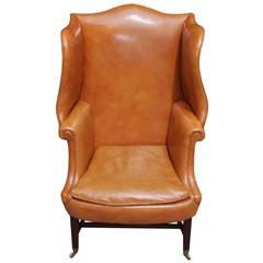 English Mahogany Leather Wing Back Chair, Circa 1780