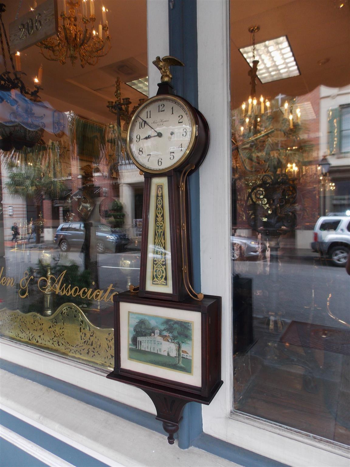 American Mahogany And 201 Glomis 233 Banjo Clock New Haven Ct