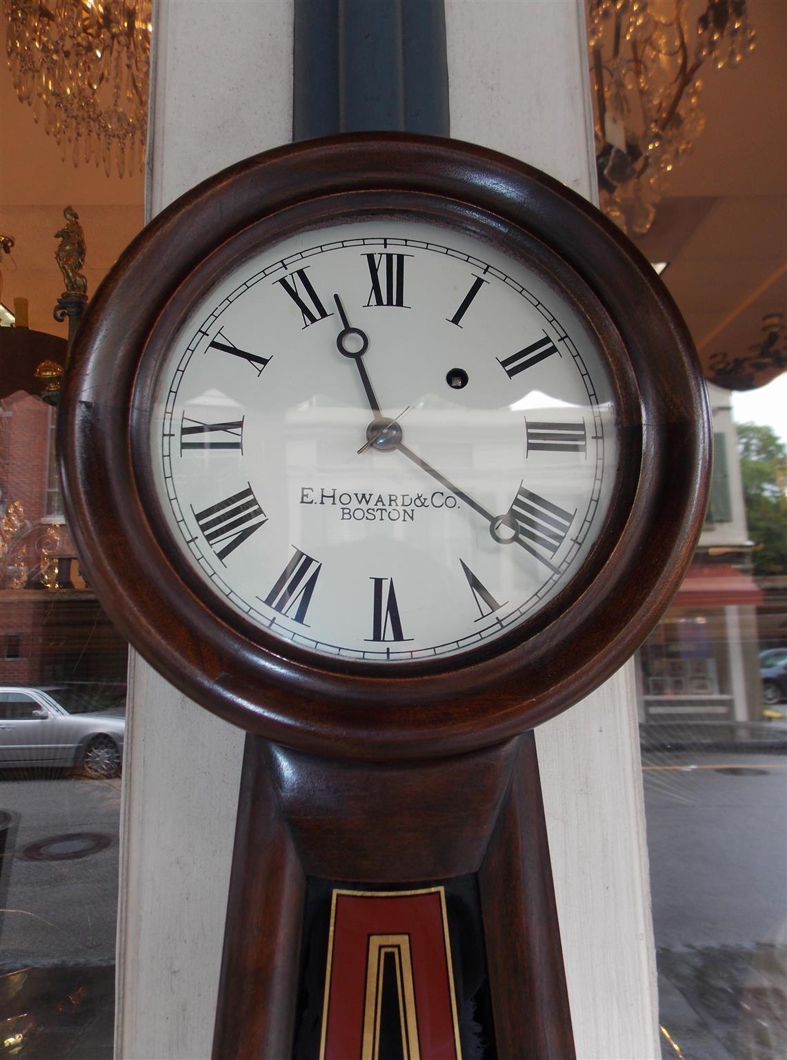 American Empire American Mahogany and Églomisé Banjo Clock,  E. Howard, Boston, Circa 1860 For Sale