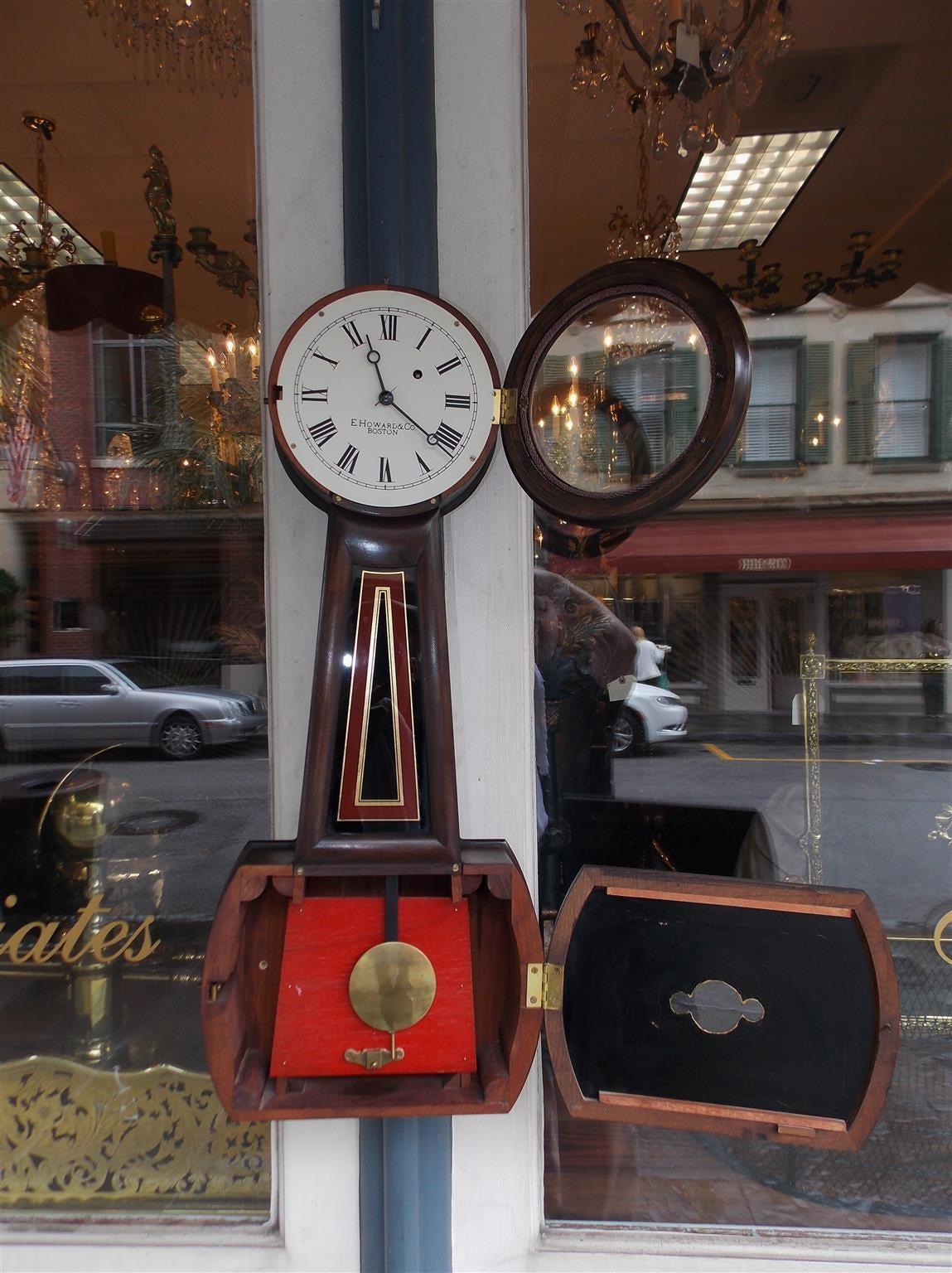 Mid-19th Century American Mahogany and Églomisé Banjo Clock,  E. Howard, Boston, Circa 1860 For Sale