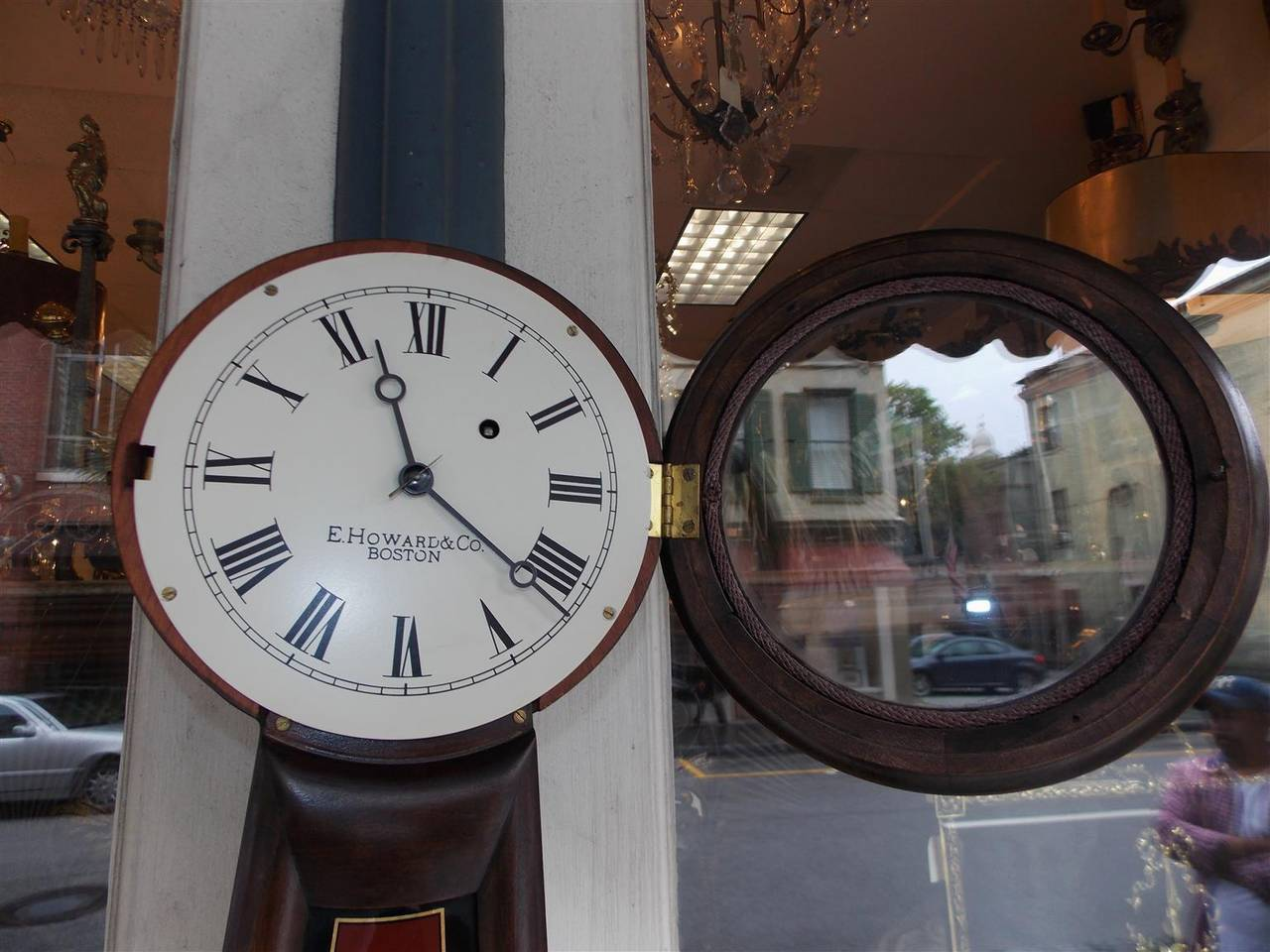 American Mahogany and Églomisé Banjo Clock,  E. Howard, Boston, Circa 1860 For Sale 2